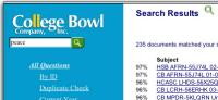Portion of the College Bowl site using NCT Search